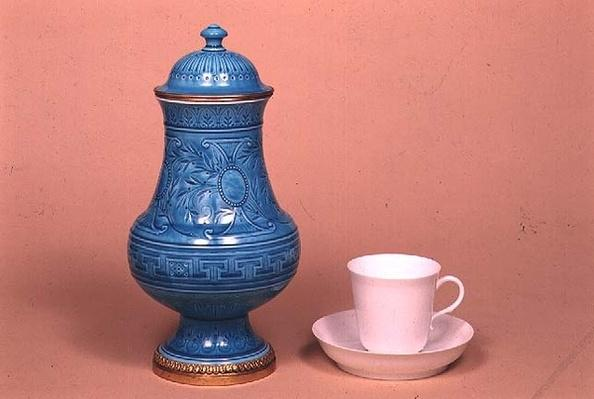 Sevres vase, 1883 and coffee cup and saucer, 1872