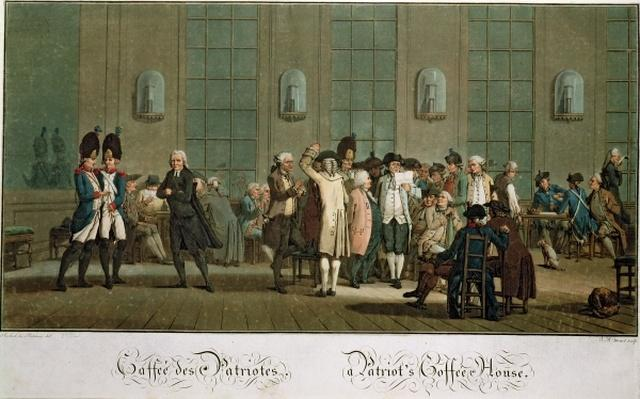 A Patriot's Coffee House by 19th century), Morret, Jean Baptiste (fl.1790-1820) (after)