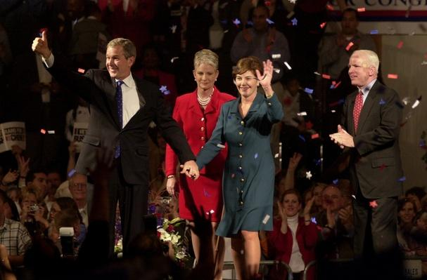George W. and Laura Bush Campaign in California with John and Cindy McCain | U.S. Presidential Elections: 2000