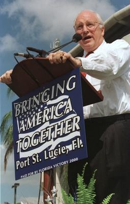 Republican Vice Presidential Candidate Dick Cheney Speaks at a Rally in Florida   U.S. Presidential Elections: 2000