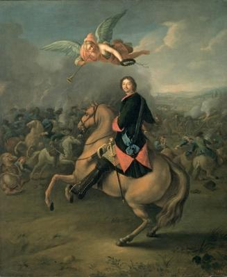 Portrait of Peter the Great against a background of the Battle of Poltava