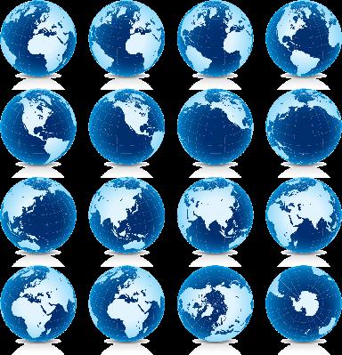 Earth Globe: Latitude 30? N Views | Clipart