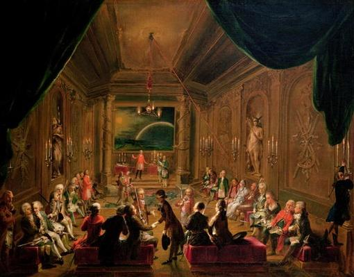 Initiation ceremony in a Viennese Masonic Lodge during the reign of Joseph II, with Mozart seated on the extreme left, 1784