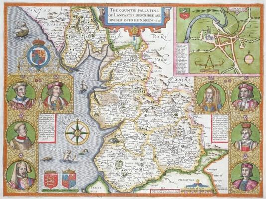 Lancashire in 1610, from John Speed's 'Theatre of the Empire of Great Britaine', first edition, pub. 1611-12