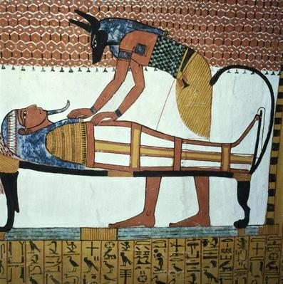Anubis and a Mummy, from the Tomb of Sennedjem, The Workers' Village, New Kingdom