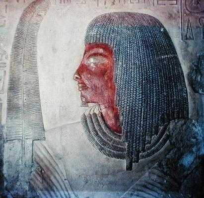 Head of a man with a feather, from an Egyptian tomb