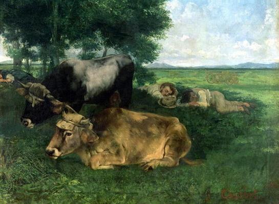 La Siesta Pendant la saison des foins by Courbet, Gustave (1819-77)
