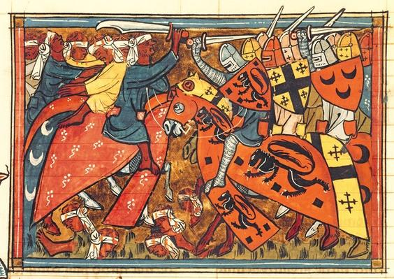 Fr 22495 f.43 Battle between Crusaders and Moslems, from Le Roman de Godefroi de Bouillon