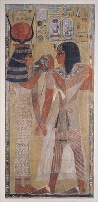 The Goddess Hathor placing the magic collar on Seti I