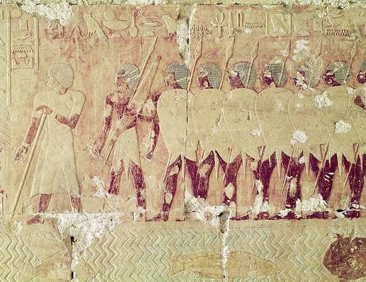 Relief depicting soldiers sent by Queen Hatshepsut on an expedition to the Land of Punt