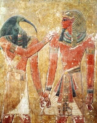The god Thoth with Seti I