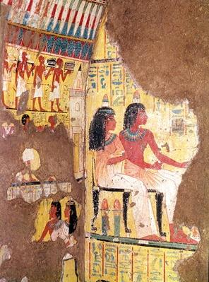 The painter Maie and his wife seated, from their tomb, reconstructed in the museum, New Kingdom