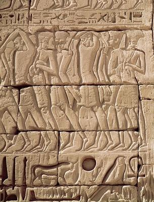 Philistine prisoners being led away, from the Temple of Ramesses III