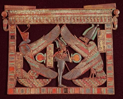 Breast plate depicting Osiris, god of the afterworld, from the tomb of Tutankhamun, in the Valley of the Kings at Thebes, c.1361-52 BC, New Kingdom