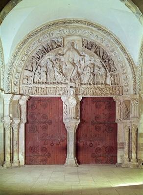 Central Portal in the Narthex of the Church of Sainte-Madelaine, with relief of the Pentecost in the Tympanum, c.1150