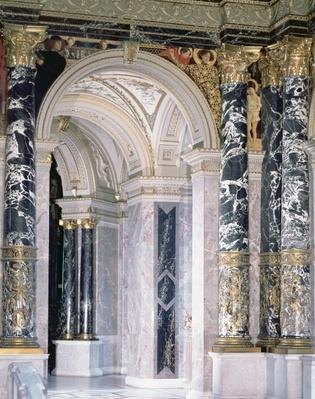 Interior of the Kunsthistorisches Museum in Vienna, detail depicting archway and the spandrel decoration of figures depicting the Italian Renaissance, 1890/91