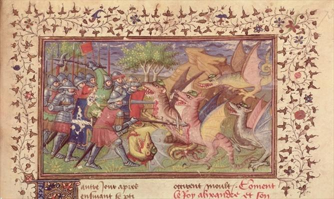 Roy 20 B XX f.73 Alexander the Great's fight against dragons with emeralds in their foreheads, c.1420-25