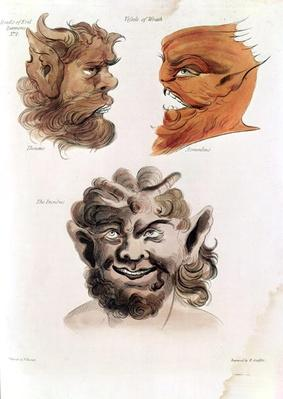 Heads of Evil Demons: Theumis, Asmodeus and The Incubus, illustrations from 'The Magus', pub. 1801