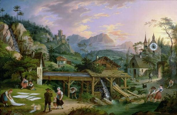 Picture Clock with scene of an Alpine village landscape with clock mechanism in church tower, 1833