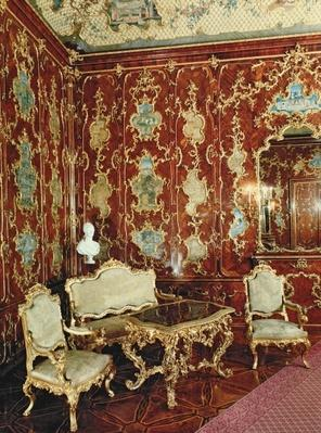 The Millionen Room panelled with fig wood inlaid with Persian miniatures and decorated with gilt ornament, Schloss Schonbrunn, Vienna