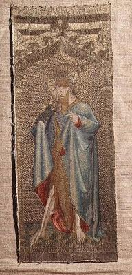 Part of an altar frontal showing St.John the Baptist, early 15th century