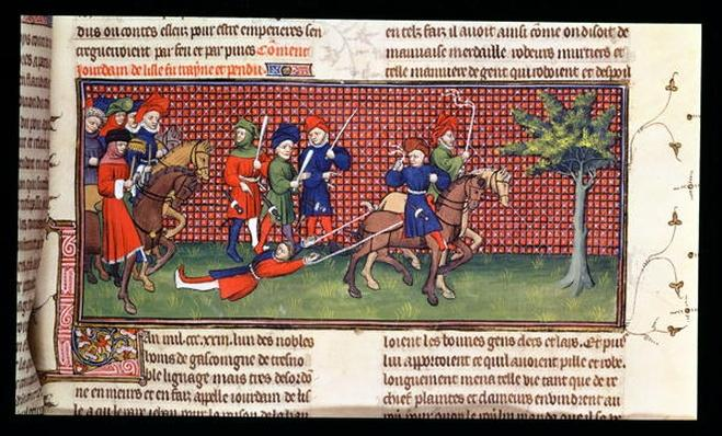 Roy 20 C VII f.60 Man punished by being dragged behind a horse