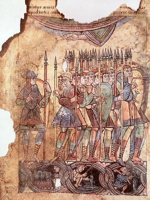Ms Lat 1390 fol.7v Foot Soldiers in the Crusades, from 'La Vie de Saint Aubin d'Angers'