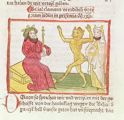 f.50 Belial dances before King Solomon, illustration, written by Palladinus Jacobus de Theramo, Bishop of Spoleto
