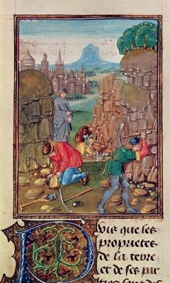 Roy 15 E III f.102 Miners at work, from 'Des Proprietez des Choses' by Bartolomeus Anglicus, 1482