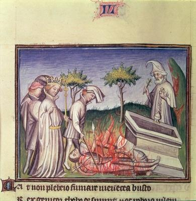 Burney 257 f.194v The funeral pyre of Menoeceus, from 'Thebais et Achilleis', c.1405