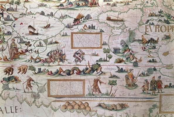 Add 24065 Detail of Siberia, the names appearing inverted to allow them to read from the border inwards towards the Equator, from a world map by Pierre Descaliers, 1550