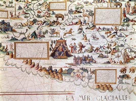 Siberia, the names appearing inverted to allow them to be read inwards from the border towards the Equator, detail from a World Map by Pierre Descaliers, 1550