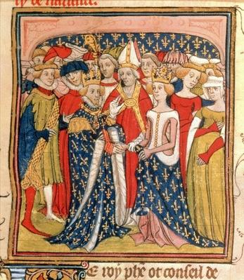 "Roy 20 C VII f.10 Marriage of King Philip III ""the Bold"" of France"