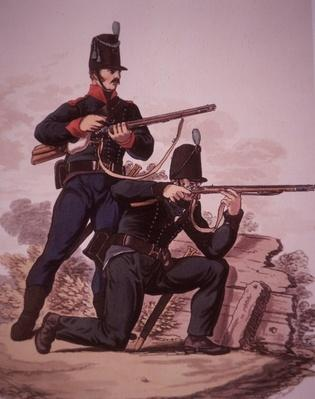 British Army riflemen of the early 19th century: Soldier of the 60th Royal American Foot standing, and soldier from the 95th Rifle Regiment kneeling