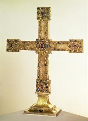Imperial Cross of the Holy Roman Empire made of oak covered in plates of gold and decorated with pearls and precious stones, West German, 1024-25