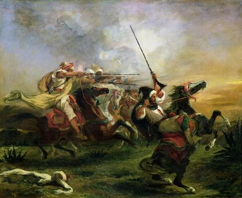 Moroccan horsemen in military action, 1832