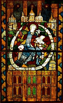 Window depicting St. John writing the Apocalypse, Paris Workshop, c.1350