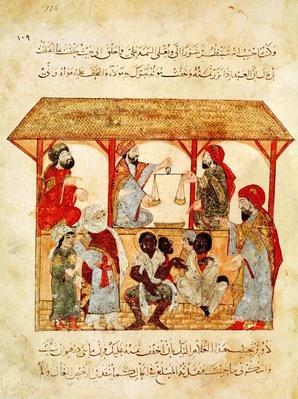 Ms. Ar 5847 f.105 A Slave Market, from 'Al Maqamat'