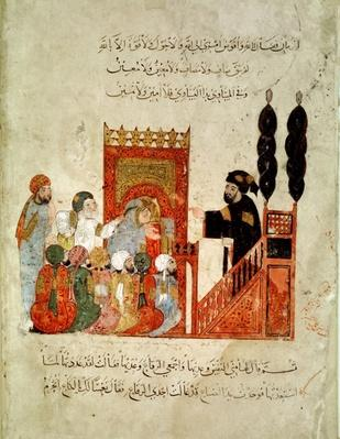 Ms Ar 5847 f.18v Abou Zayd preaching in the Mosque, from 'Al Maqamat'