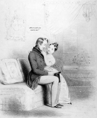 Leap Year! Queen Victoria proposing to Albert, published 1840