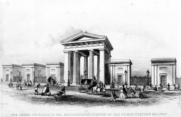 The Grand Entrance of the Metropolitan Station of the North Western Railway, engraved by Alfred Ashley, c.1837