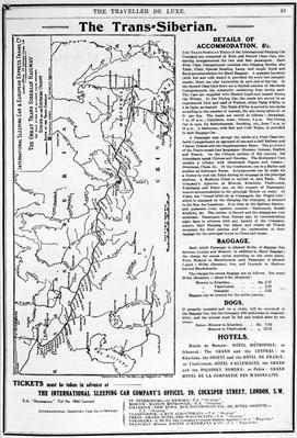 Map of the Trans-Siberian Railway, produced by J. Bartholomew & Co., c.1920