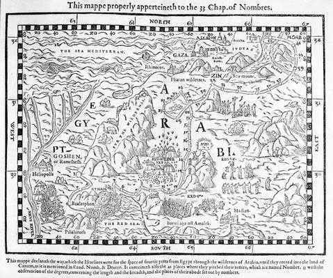 A map showing the journey of the Israelites out of Egypt and into Canaan, facsimile of an image from the Geneva Bible of 1560