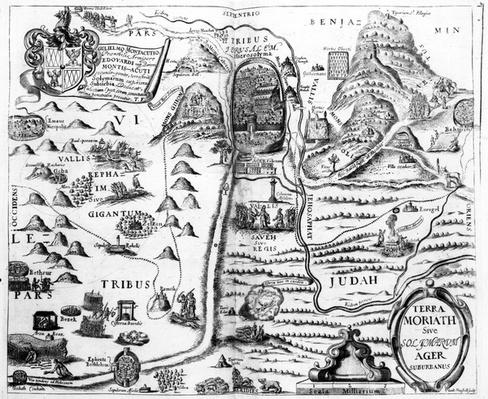 Map of Israel, from 'A Pisgah-sight of Palestine' by Thomas Fuller, 1650