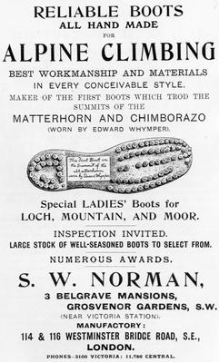 Advertisement for S. W. Norman Alpine Climbing Boots, illustration from 'Whymper's Guides Advertiser', 1911
