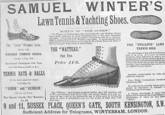 Advertisement for Samuel Winter's Lawn Tennis & Yachting Shoes, illustration from 'The Queen, The Lady's Newspaper', May 29 1886