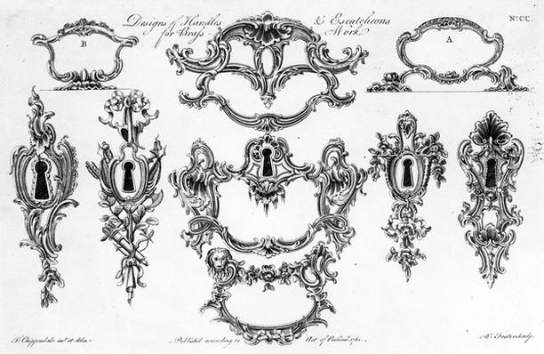 Designs of Handles & Escutcheons for Brass Work, print made by W. Foster, 1761