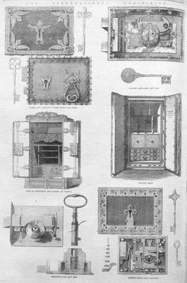 Locks and Safes on display at the Great Exhibition of 1862, illustration from 'The Illustrated London News', November 15 1862