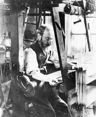 Man working at a handloom