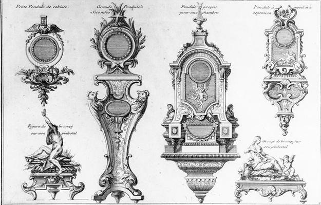 Clock Cases and Pedestals of Andr�-Charles Boulle, print made by Pierre-Jean Mariette